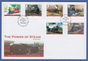 Isle of Man Ersttagsbrief / FDC 2004 Mi.-Nr. 1108-13 Dampflokomotiven