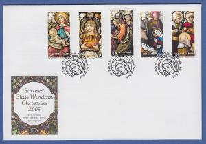 Isle of Man Ersttagsbrief / FDC 2005 Mi.-Nr. 1252-56 Weihnachten Buntglasfenster