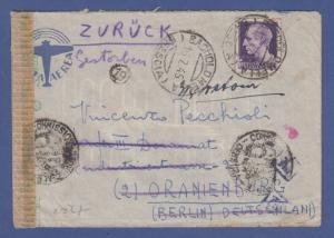 Italien Februar 1945 interess. Zensur-Retour-Brief von Bagnolo nach Deutschland