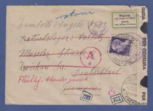 Italien März 1945 interess. Zensur-Retour-Brief von Cremona nach Deutschland