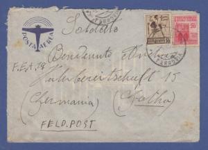 Italien April 1945 interess. Zensur-Retour-Brief von Torino nach Deutschland