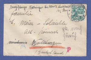 Schweiz Dez.1944 interess. kleinform. Retour-Brief gelaufen nach Deutschland
