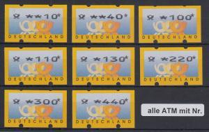 ATM Deutschland Posthörner Mi.-Nr. 3.2 Tastensatz TS1 8 Werte 10-440 mit Nr.  **