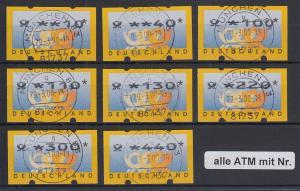 ATM Deutschland Posthörner Mi.-Nr. 3.2 Tastensatz TS1 8 Werte 10-440 mit Nr. O