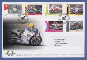Isle of Man Ersttagsbrief / FDC 2009 Mi.-Nr. 1534-39 Honda Motorräder