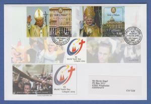 Isle of Man Ersttagsbrief / FDC 2005 Mi.-Nr. 1243-44 Papst Weltjugendtag Köln