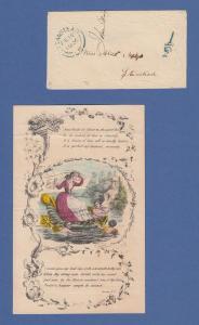 Großbritannien 1856 hübscher Valentins-Prägebrief mit Inhalt, O 1/2, STANSTEAD