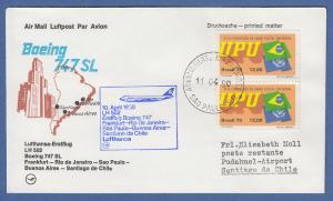 Brasilien 1979 UPU Mi.-Nr. 1726 auf Lufthansa-Erstflugbrief Frankfurt - Santiago