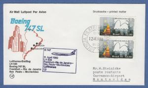 Brasilien 1979 Mi.-Nr. 1706 auf Lufthansa-Erstflugbrief Frankfurt - Montevideo