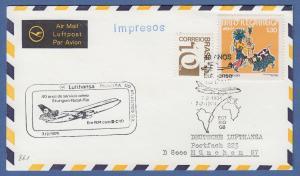 Brasilien 1972 Mi.-Nr. 1332 ect auf Lufthansa-Erstflugbrief Stuttgart-Natal-Rio
