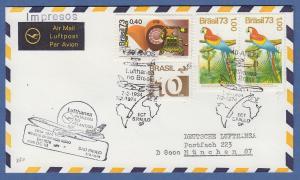 Brasilien 1973 Mi.-Nr. 1417 ect auf Lufthansa-Jubiläumsbrief 1934-1974