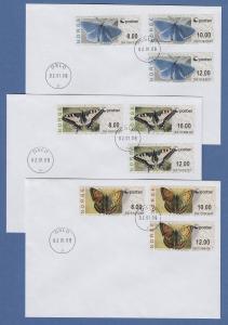 Norwegen 2008 ATM Schmetterlinge neues Logo Mi-Nr. 10-12 je Satz 8-10-12 auf FDC