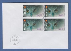 Norwegen 2004 Eule Sonderdruck ähnlich ATM Satz 4 Werte Mi.-Nr. 5 So 5-8 auf FDC