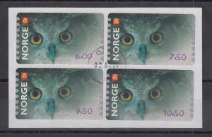 Norwegen 2004 Eule Sonderdruck ähnlich ATM Satz 4 Werte Mi.-Nr. 5 So 5-8 gest.