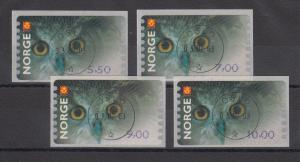 Norwegen 2002 Eule Sonderdruck ähnlich ATM Satz 4 Werte Mi.-Nr. 5 So 1-4 gest.