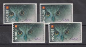 Norwegen 2002 Eule Sonderdruck ähnlich ATM Satz 4 Werte Mi.-Nr. 5 So 5-8 gest.