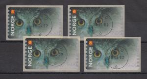 Norwegen 2002 Eule Sonderdruck ähnlich ATM Satz 4 Werte Mi.-Nr. 5 So 1-4 ET-O