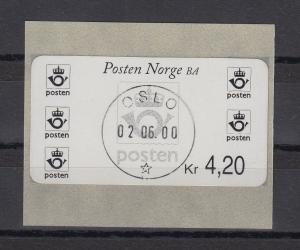 Norwegen 2000 Postemblem Sonderdruck Wert 4,20 Mi.-Nr. 4 So 5 mit ET-O