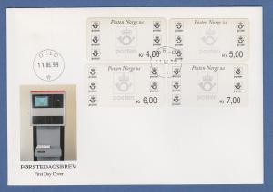 Norwegen 1999 Postemblem Sonderdruck Satz 4 Werte Mi.-Nr. 4 So 1-4 auf FDC