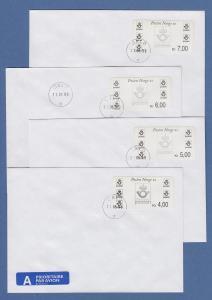 Norwegen 1999 Postemblem Sonderdruck Satz 4 Werte Mi.-Nr. 4 So 1-4 auf 4 FDC