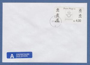 Norwegen 1999 Postemblem Sonderdruck Wert 4,00 Mi.-Nr. 4 So 1 auf FDC