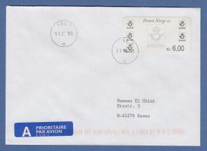 Norwegen 1999 Postemblem Sonderdruck Wert 6,00 Mi.-Nr. 4 So 3 auf FDC
