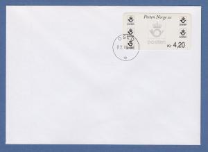Norwegen 2000 Postemblem Sonderdruck Wert 4,20 Mi.-Nr. 4 So 5 auf FDC