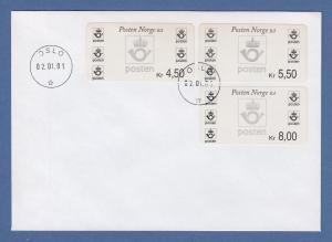 Norwegen 2001 Postemblem Sonderdruck Satz 3 Werte Mi.-Nr. 4 So 6-8 auf FDC
