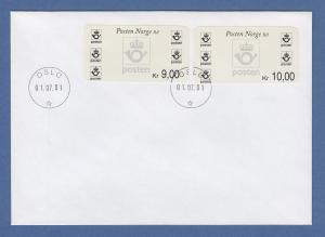 Norwegen 2001 Postemblem Sonderdruck Satz 2 Werte Mi.-Nr. 4 So 9-10 auf FDC