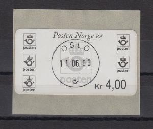 Norwegen 2001 Postemblem Sonderdruck Wert 4,00 Mi.-Nr. 4 So 1 mit ET-O