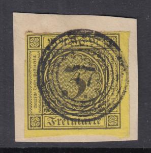 Baden 1852 Freimarke 3 Kreuzer gelb Mi.-Nr. 2b Eckrandstück gestempelt