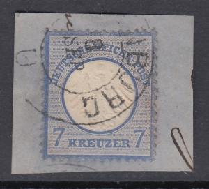 Deutsches Reich, kleiner Brustschild 7 Kreuzer Mi.-Nr. 10 gestempelt Briefstück