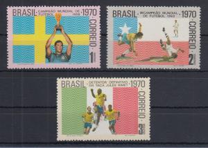 Brasilien 1970 Gewinn Fussball-WM 1958-1962-1970  Mi.-Nr. 1262-1264 **