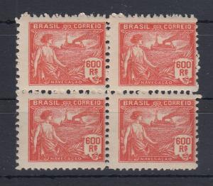 Brasilien 1920 Freimarke 600R Schifffahrt Mi.-Nr. 227A Viererblock **