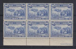Brasilien 1922 100 Jahre Unabhängigkeit Mi.-Nr. 245 Unterrand-6er-Block **