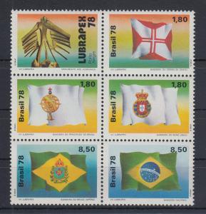 Brasilien 1978 LUBRAPEX '78 Flaggen Mi.-Nr. 1671-1675 6er-Block **