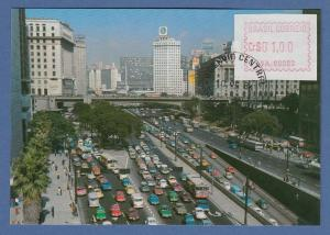 Brasilien FRAMA-Automatenmarke VA.00009 auf Postkarte Vale do Anhangabaú SP 1981