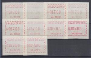 Brasilien FRAMA-Automatenmarken VA.00001 - VA.00010 Serie komplett **