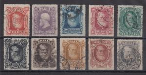 Brasilien 1877 Kaiser Dom Pedro II. mit weißem Vollbart Mi.-Nr. 38-47 Satz gest.