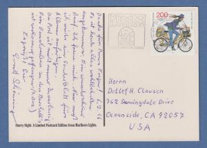 Bundespost Tag der Briefmarke 1995 Mi.-Nr. 1814 als EF auf AK nach Kalifornien