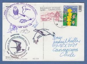 Grönland 2002, Postkarte gelaufen nach Chile, u.a. mit EUROPA-CEPT Marke