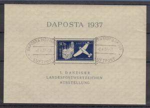 Danzig 1937 Daposta-Block, seltene a-Farbe Mi.-Nr. Block 2a mit Sonderstempel