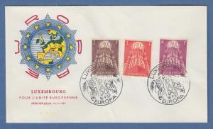 Luxemburg EUROPA-Marken 1957 Mi.-Nr. 572-574 auf FDC