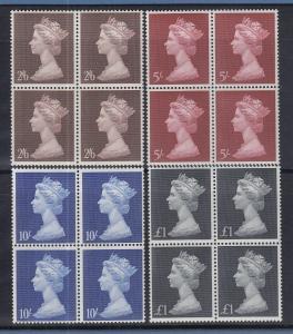 Großbritannien 1969 Queen Elizabeth Mi.-Nr. 507-510 Viererblock-Satz **