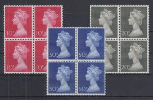 Großbritannien 1970-73 Queen Elizabeth Mi.-Nr. 549-551 Viererblock-Satz **