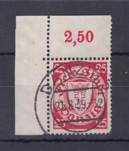 Danzig Freimarke Wappen Wz.5 Mi.-Nr. 294 ECKRANDSTÜCK oben links gestempelt