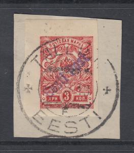 Estland 1919 Lokalausgabe Tallinn 3 K dunkelrosa geschnitten Mi.-Nr. 3B gest.