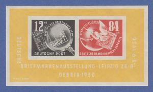DDR 1950, Briefmarken-Ausstellung Leipzig DEBRIA-Block Mi.-Nr. Block 7 **