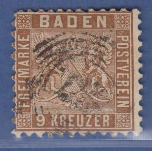 Altdeutschland Baden 9 Kreuzer braun Mi.-Nr. 15a gestempelt