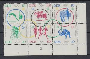 DDR 1964 Olympische Spiele Tokio Eckrand-6er-Block  Mi.-Nr. 1039-44 **